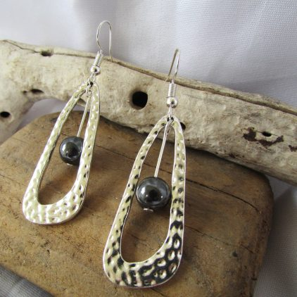 Oval Charm with Grey Pearl Insert Earrings