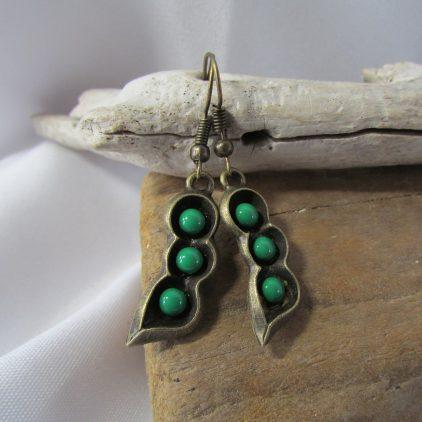 Copper Coloured Peas in a Pod Earrings